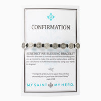 Confirmation Blessing Bracelet Silver Medals on Black Cord - Unique Catholic Gifts