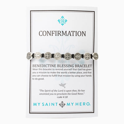 Confirmation Blessing Bracelet Silver Medal on Black Cord