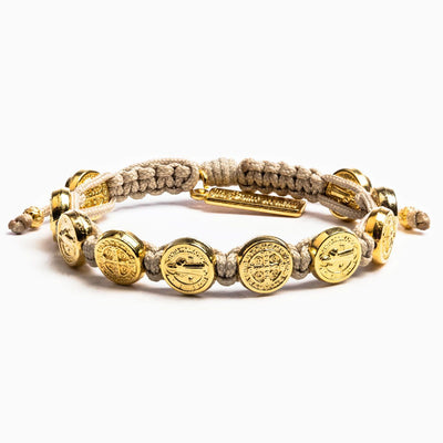 Benedictine Blessing Bracelet Gold Medals on a Tan Cord