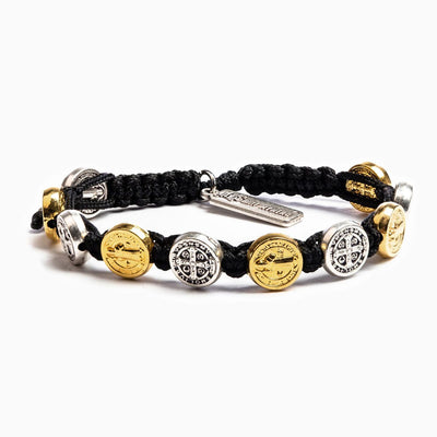 Benedictine Blessing Bracelet Gold and Silver Medals (mixed) on Black Cord
