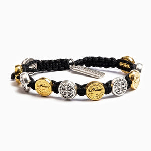 Mixed Medals on Black Cord Benedictine Blessing Bracelet - Unique Catholic Gifts