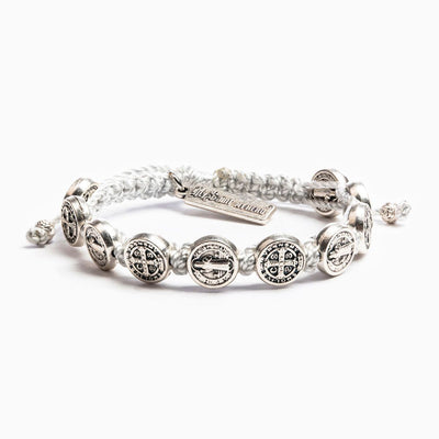 Benedictine Blessing Bracelet Silver Medal on Metallic Silver Cord