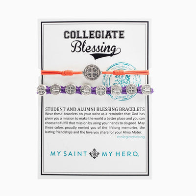 Student & Alumni Blessing Bracelets Silver Medal Orange and Purple Cord