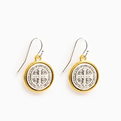 Benedictine Blessing Gold Rim Earrings - Unique Catholic Gifts