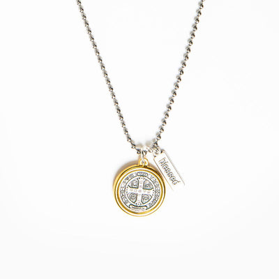 Benedictine Blessing Gold Rim Necklace
