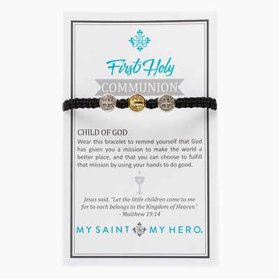 First Holy Communion Child of God Bracelet - Silver and Gold Medals (mixed) on Black Cord