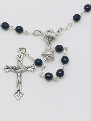 First Communion Black Glass Bead Rosary with Chalice Center Piece (5MM)