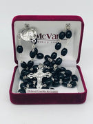 Black Wood Oval Rosary (8mm) - Unique Catholic Gifts