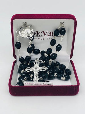 Black Wood Oval Rosary (8mm)