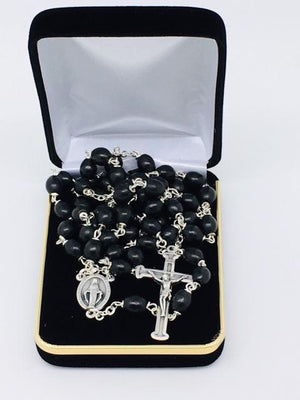 Black Wood Bead Miraculous Medal Rosary (23