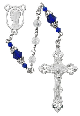 Blue Crystal Capped Rosary (6MM) - Unique Catholic Gifts