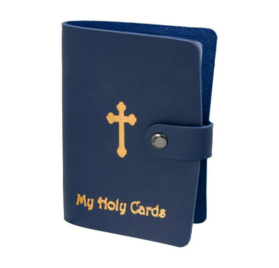 Blue and Gold Stamped Holy Card Wallet (Leatherette) - Unique Catholic Gifts