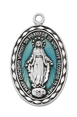 Sterling Silver and Blue Epoxy Miraculous Medal  (7/ 8