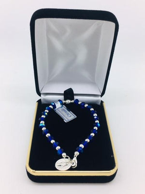 Blue and Silver Bead Rosary Bracelet with Miraculous Medal