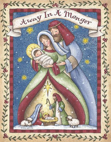 deluxe linen christmas cards away in a manger nativity - Deluxe Christmas Cards