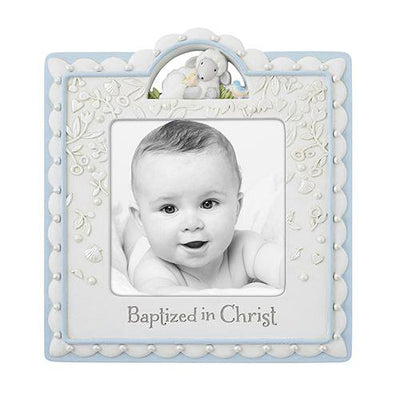 Baptized In Christ Photo Frame Blue - Unique Catholic Gifts