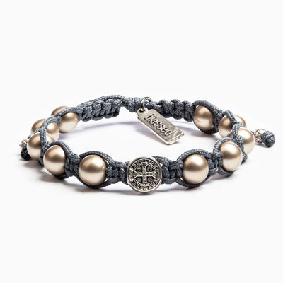 Silver Pearl Divine Blessings Bracelet Silver Benedictine Medal on Slate Cord