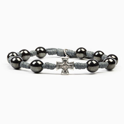 Honor Blessing Bracelet Silver Cross on Tan Cord (for Men)