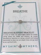 Breathe Blessing Bracelet Silver Medal on Metallic Silver  Cord - Unique Catholic Gifts