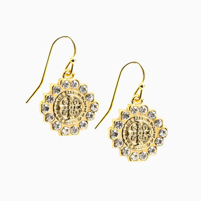 Brilliance Crystal Drop Earrings Gold - Unique Catholic Gifts