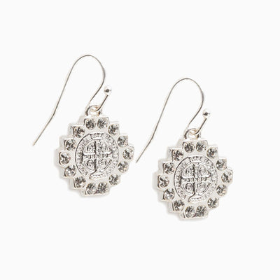 Brilliance Crystal Drop Earrings Silver - Unique Catholic Gifts