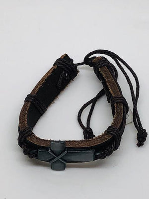 Medal Cross Leather Bracelet (Brown)