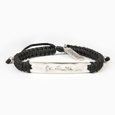 Be The One  Bracelet Silver Bar on Black Cord
