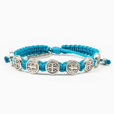 Benedictine Blessing Bracelet (Silver Medal on Turquoise Cord) - Unique Catholic Gifts
