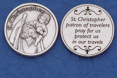 St. Christopher Italian Pocket Token Coin - Unique Catholic Gifts