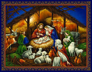 Deluxe Linen Christmas Cards - Nativity