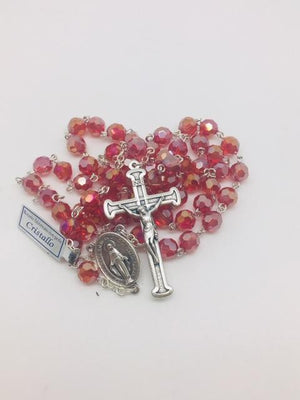 Red Crystal Gem Cut Miraculous Medal Rosary (8mm)