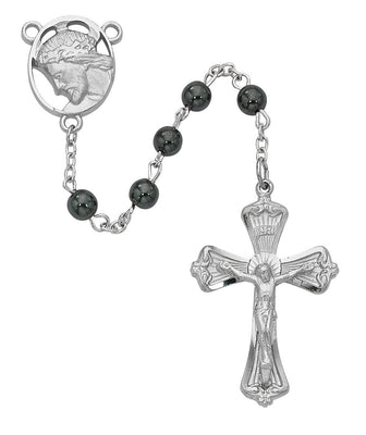 Hematite Crowned Christ Rosary (6mm)