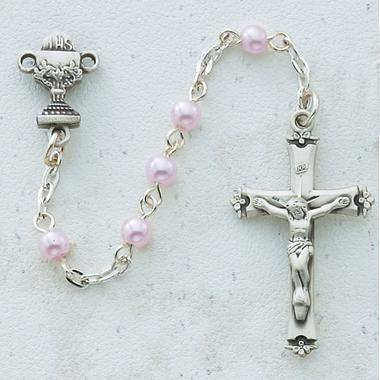 Pink Pearl First Communion Rosary (5MM) - Unique Catholic Gifts