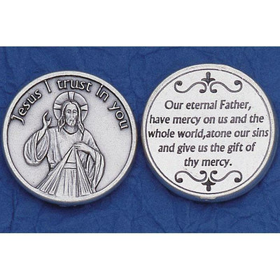 Divine Mercy Italian Pocket Token Coin - Unique Catholic Gifts