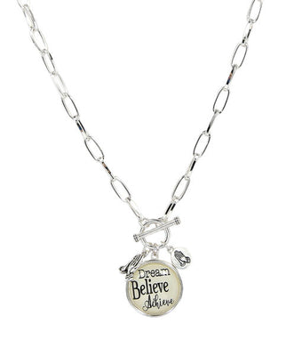 Dream, Believe Achieve Necklace with Praying Hands Charm - Unique Catholic Gifts