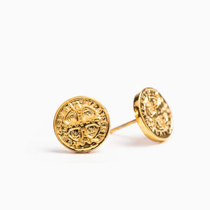 Benedictine Stud Earrings (Gold) - Unique Catholic Gifts