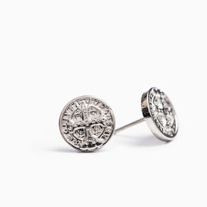 Benedictine Stud Earrings (Silver) - Unique Catholic Gifts