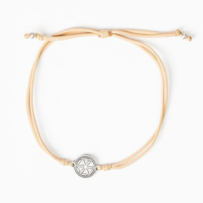 Empower Seed of Life Anklet Silver on Tan Cord