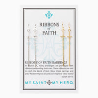 Ribbons of Faith Earrings My Saint My Hero - Unique Catholic Gifts