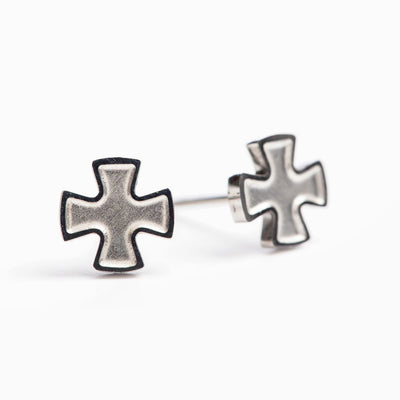 Faith Stud Earrings (Silver) - Unique Catholic Gifts