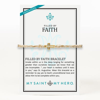 Filled by Faith Open Cross String Bracelet (Gold) - Unique Catholic Gifts