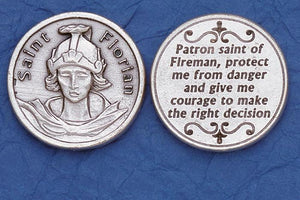 St. Florian Firefighter Italian Pocket Token Coin - Unique Catholic Gifts