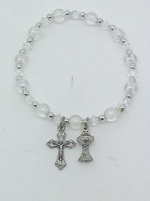 First Communion Clear and Silver Bead Bracelet with Chalice and Crucifix Charms