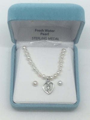 Pearl with Heart Miraculous Medal Necklace and Matching Earrings