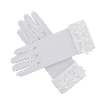 First Communion Gloves with Rosebuds