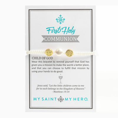 Gold Medal on White Cord Holy First Communion Pearl and Swarovski Bracelet