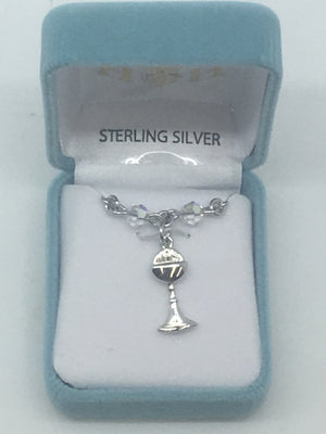 Sterling Silver and Swarovski Crystals First Communion Necklace