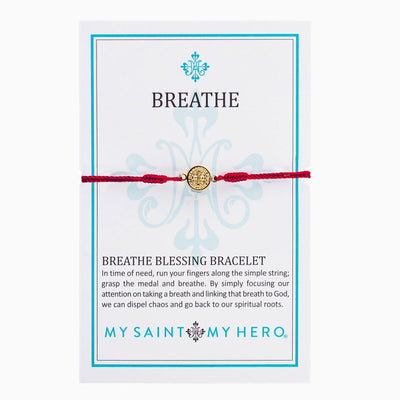 Breathe Blessing Bracelet Gold Medal on Red Cord