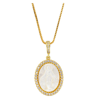 Gold Mother of Pearl and Crystal Miraculous Medal (1