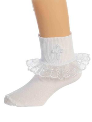 Girl's Baptismal Socks with Lace Trim and Cross (Size 0-0)